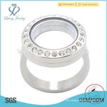 Diy Silber / Gold / Roségold 316l Edelstahl Herzform Glas magnetischen offenen Speicher lebenden schwimmenden Locket Ringe