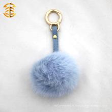Porte-clés en fourrure de lapin Porte-clés en fourrure Pom Pom pour sac à main Boule de fourrure réelle