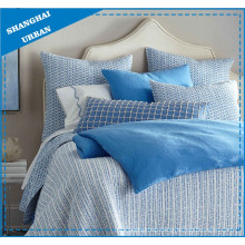 Blue Lines Printed Polyester Quilted Bedspread Set