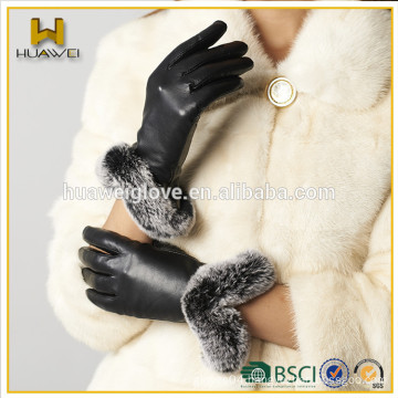 Classic Top soft Leather Women Leather Gloves with BSCI Certificated