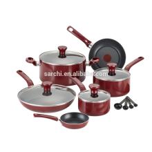 Nonstick Thermo-Spot Spülmaschine Safe Ofen Safe PFOA Free Kochgeschirr Set, 14-teilig, rot