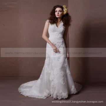Ideal Mermaid V-Neck Cap Sleeve Lace Wedding Dress Buttons Chapel Train