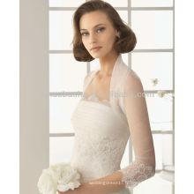 2014 Robes de mariée de sirène de charme avec une veste transparente 3/4 à manches longues Robe de mariée à encolure en érable sans boucle NB012