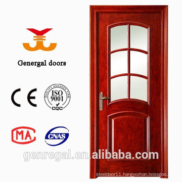 Arched European Style Grid shaped glass Wooden Door