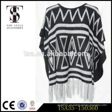 Jersey de color blanco y negro triángulo geométrico blanco y negro de acrílico bufanda con largas borlas blancas
