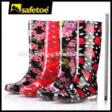 Las mujeres de plástico pvc botas de lluvia transparente W-6040