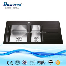 Hand made black glass drainboard built-in kitchen rinses sink with tap hole