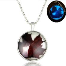 Luminous Necklace In Flower Globe Pendant Neckalce Chain Necklace In Silver