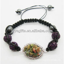 10MM purple Crystal balls woven bracelet with lucky tree