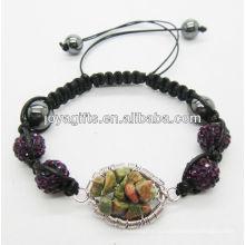 10MM пурпуровый кристаллический шарик сплетенный браслет с удачливейшим валом