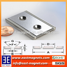 High Quality the Countersink N40 Magnetic Assembly Neodymium Magnets/custom rectangle shape magnet with 2 countersink holes