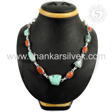 Splendorous coral & turquoise gemstone necklace 925 sterling silver jewelry online silver jewelry exporter