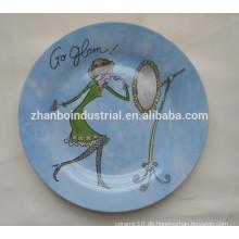 Keramische flache Platte mit vollem Abziehbild, Porzellan-Teller