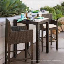 Sistema de taburete de Bar al aire libre de mimbre de la rota Patio jardín muebles