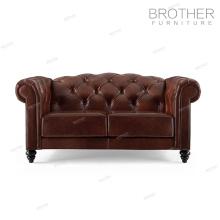Salon meubles rembourrés 2 places design canapé en cuir avec sculpture sur bois