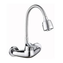 Conjunto suspenso de torneira para pia de cozinha de alça única operação cromada todo o metal