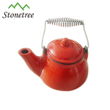 Hot Sale Wholesale Chinese Red Enamel Coating Cast Iron Tea Pot