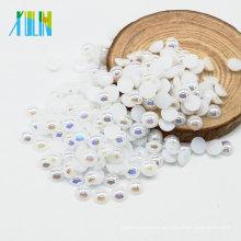 Nueva llegada A14-Pure color blanco AB perlas sueltas falsas medias redondas para la fabricación de joyas