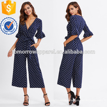 Blue Tiered Trumpet Sleeve Surplice Wrap Jumpsuit OEM/ODM Manufacture Wholesale Fashion Women Apparel (TA7003J)