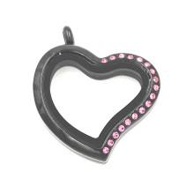 Preto chapeado coração cristal rosa em forma de cristal Locket