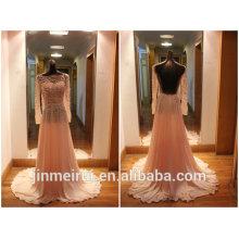 Graceful Peach Color Evening Gowns Custom Made Floor Length Chiffon Beaded Backless Vintage Long Sleeve Evening Dress