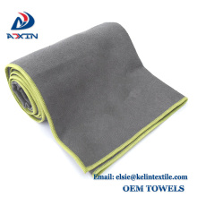gery color set of 2 Non Slip not Skid microfiber yoga towel with High elastic edge