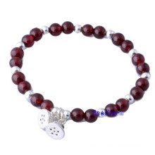 Natural Garnet Beads Bracelet with Silver Charm (BRG0019)