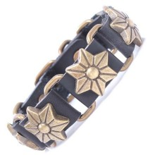 Top layer real cow leather bracelet with metal six petal flower accessories antique bronze plated fashion design