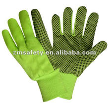Cotton Canvas Working Garden Glove With PVC Dots