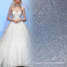 Robe de mariée dentelle tissu argent dentelle paillette