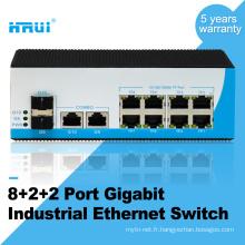Puce importée non géré 10/100 / 1000M 2 combo port, 8 ports commutateur industriel ethernet