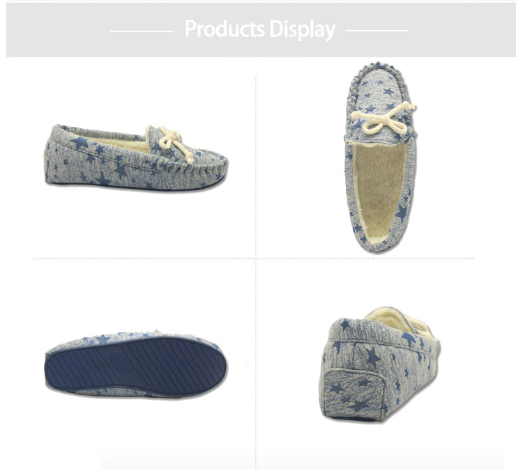 comfortable blue star print moccasins slippers for ladies
