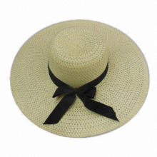 Women's Paper Straw Sun Hat, Embellished with Black Ribbon Bowknot