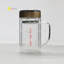 Copos / canecas de BlassTea do borosilicato do escritório com filtro de vidro / filtro / impressão personalizada infusor do logotipo