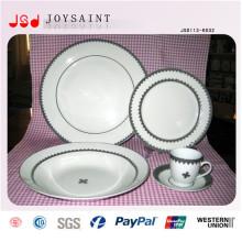 Porcelana blanca vendedora caliente con la placa de ensalada simple de la etiqueta