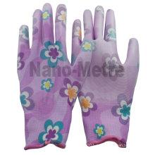 NMSAFETY ПУ рабочие перчатки/PU покрытием перчатки/цветочный вкладыш нейлона напечатано PU перчатки