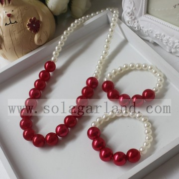 Baby Girl Toddler Imitation Pearl Round Chunky Bead Necklace
