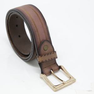Men's Fashion Design Stitched Sawtooth Pattern Leather Belt
