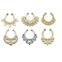 Fashion wholesale indian jewelry non piercing septum fake nose ring