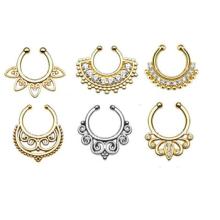 Moda atacado jóias indiano não piercing septo nariz falsa nariz