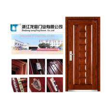 Design de porta blindada de madeira de aço com alça rob