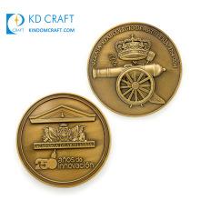 OEM Design Custom Promotional Metal Brass Stamped Antique Gold Plated Embossed 3D Fancy Challenge Coin for Sale