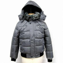 Men's Winter Coat with Removable Hood, Fake Fur Collar