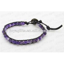 Bracelets à enveloppe d'amitié avec perles en pierre d'améthyste