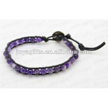 Friendship wrap Bracelets with Amethyst stone Beads