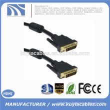 DVI-D 24 + 1 pino Dual Link cabo DVI macho para macho com 2 núcleos de ouro 1,8 m