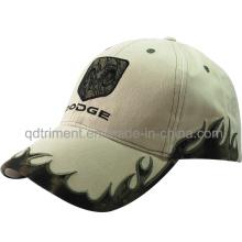 Al aire libre Camo bordado de la llama de algodón sarga gorra de béisbol (TMB1922)