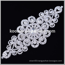 Flatback clear crystal rhinestone patch sew on bling applique for bags and clothes