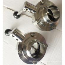Sanitary aço inoxidável válvula de borboleta grade de alimentos 304 / 316L Tc Clamp / solda / linha / macho / fêmea conexão CNC máquina
