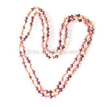 Collar de perlas de cristal anudadas a mano